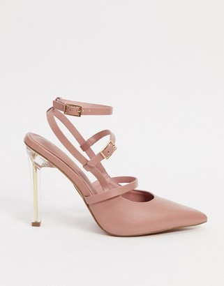 ASOS DESIGN Professor pointed high heels in blush and clear