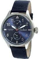 Peugeot Men's Silver Blue Nylon Band Day Date Calendar Aviator Weekend Watch 2044SBL
