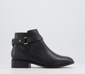 Office Adapt Feature Hardware Ankle Boots Black Croc Leather Mix