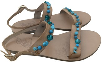 Ancient Greek Sandals Turquoise Leather Flats