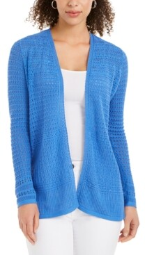 Charter Club Open-Front Pointelle Cardigan, Created for Macy's