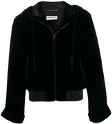 Saint Laurent Djellaba hooded teddy velvet jacket