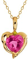 Gem Stone King 2.22 Ct Heart Shape Pink Mystic Topaz Canary Diamond 18K Yellow Gold Pendant