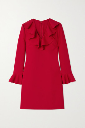 Valentino Ruffled Wool-blend Crepe Mini Dress - Red