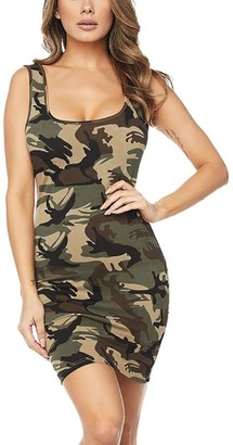 DEELIN Womens Club O-Neck Summer Casual Camouflage Printing Buttocks Sheath Sleeveless Sexy Mini Dress Gray M