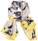 John Lewis Silk Tropical Cut Out Square Scarf, Navy/Multi