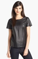 Perforated Faux Leather Tee