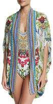 Camilla Open-Front Embellished Silk Cardigan/Cape Coverup, Exotic Hypnotic