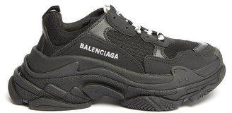 Balenciaga Triple S Leather And Mesh Trainers - Black