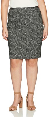Kasper Women's Plus Size Woven Jacquard Slim Skirt