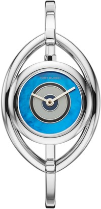 Tory Burch EVIL EYE BANGLE WATCH, STAINLESS STEEL/IVORY, 25 MM