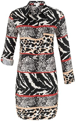Tribal Shirtdress with Roll Up Sleeve (Cream) Women's Dress