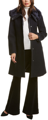 Nine West Funnel Wool-Blend Coat