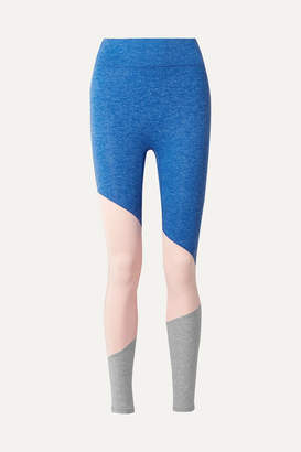 We Over Me - The Exhale Color-block Stretch-jersey Leggings - Blue
