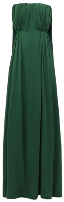 Emilia Wickstead Elaine Waterfall-back Satin-cloque Maxi Dress - Womens - Dark Green
