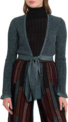 M Missoni Lurex Knit Shoulder Shrug With Ribbon