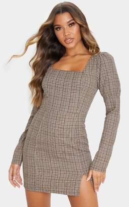 PrettyLittleThing Beige Check Print Square Neck Side Split Shift Dress