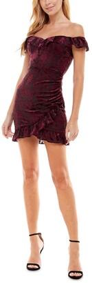 City Studios Juniors' Off-The-Shoulder Velvet Burn-Out Bodycon Dress