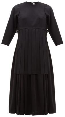 Noir Kei Ninomiya Pleated Wool-twill Dress - Womens - Black