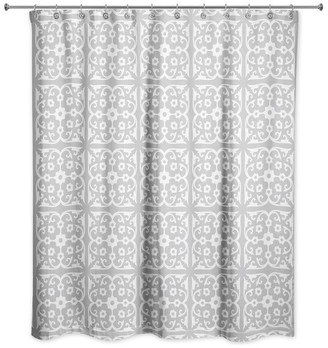 Designs Direct Creative Group Gray Tile 71x74 Shower Curtain