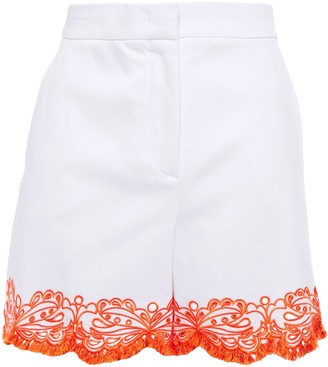 Emilio Pucci Broderie Anglaise-trimmed Cotton-blend Twill Shorts