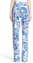 Versace Leaf Print Stretch Cady Pants