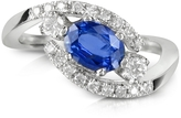 Forzieri Sapphire and Diamond 18K White Gold Ring