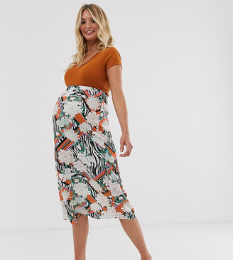 Asos DESIGN Maternity animal and floral print bias slip skirt