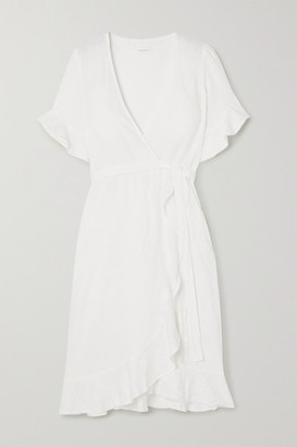 HONORINE Charlotte Ruffled Linen Wrap Dress - White