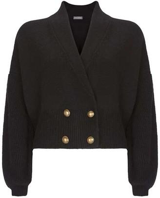 Mint Velvet Black Double Breasted Cardigan