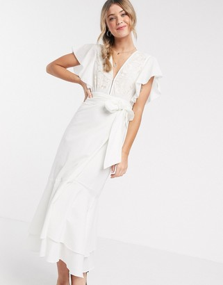 Cleobella seville midi dress with tie waist in white