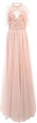 Marchesa Notte Embroidered Halterneck Top Dress