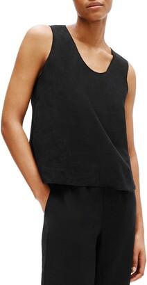 Eileen Fisher Rounded V-Neck Organic Handkerchief Linen Shell