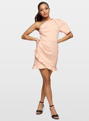 Miss Selfridge PETITE Peach One Shoulder Scuba Mini Dress