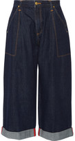 House of Holland + Lee Cropped Mid-rise Wide-leg Jeans - Dark denim