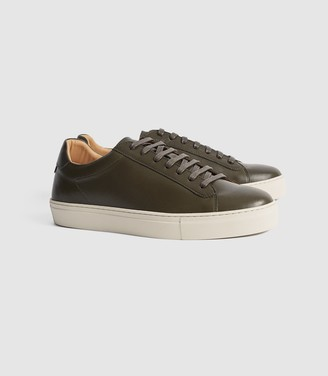 Reiss Finley - Leather Trainers in Camo