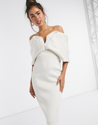 ASOS DESIGN off shoulder sweetheart bardot V wire pencil midi dress in stone