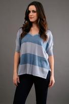 Minnie Rose Cotton Stripe Pow Wow in Chrome/Denim Blue