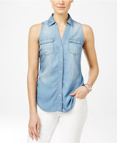 INC International Concepts Petite Denim Sleeveless Shirt, Only at Macy's