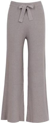 Live The Process Taupe wide-leg ribbed-knit trousers
