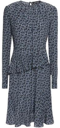 Markus Lupfer Julia Ruffled Floral-print Silk-crepe Mini Dress