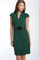 Belted Ponte Knit Dress