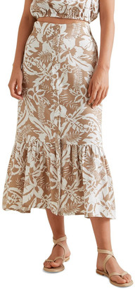 Seed Heritage Palm Print Button Skirt No
