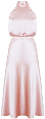 Undress Noma Dusty Pink Halter Neck Midi Dress With Back Ribbons
