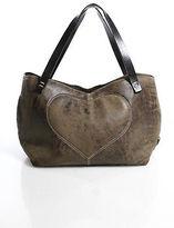 Escada Brown Leather Double Handle Button Closure Heart Tote Shoulder Handbag
