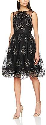 Chi Chi London Women's Rilana Dress, (Black/Gold)