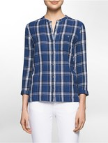 Calvin Klein Lightweight Plaid 3/4 Sleeve Shirt