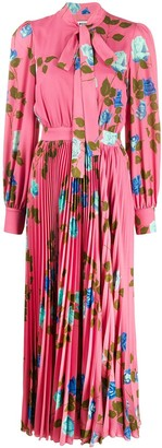 MSGM Rose Print Pleated Dress