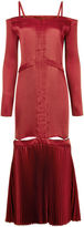 Barbara Casasola Burgundy Plisse Satin Dress