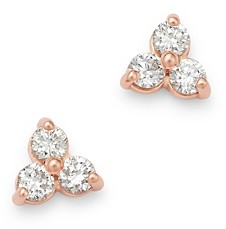 Bloomingdale's Diamond Three-Stone Stud Earrings in 14K Rose Gold, 0.20 ct. t.w. - 100% Exclusive